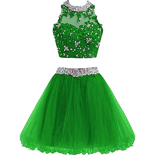c6b30ed58aa8 Buy XIA Women's Two Piece Homecoming Dress Cute Lace Prom Dress for Junior  Short Ball Gown Bridesmaid Dresses Applique with Ubuy Kuwait. B07M9T6ZTF