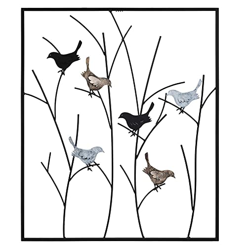Buy Lechesis Metal Bird Wall Art Decor Handmade Metal Framed Birds On Wall Plaque Decor Sculptures Branches 25 X 29 12 Wrought Iron Rustic Abstract Black Colored Birds Hanging