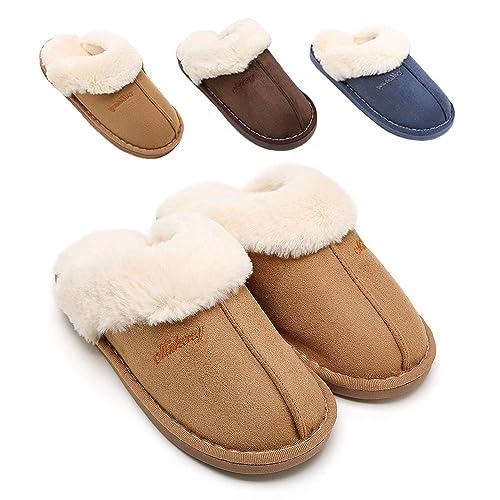 213e0c786fa89 Buy SOSUSHOE Womens Slippers, Fluffy Slip On House Slippers Clog ...