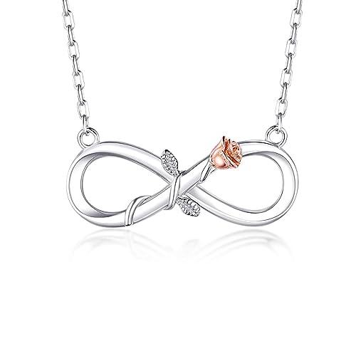 03f7ac8efa00d BlingGem Women's 18K White Gold-Plated 925 Sterling Silver Infinity Rose  Pendant Necklace,18 Inch