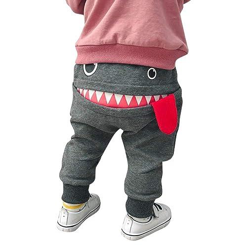 EGELEXY Baby Boys Girls Dinosaur Trouser Bottoms Toddler Legging Sweat Harem Short Pant Size 2-3 T Grey