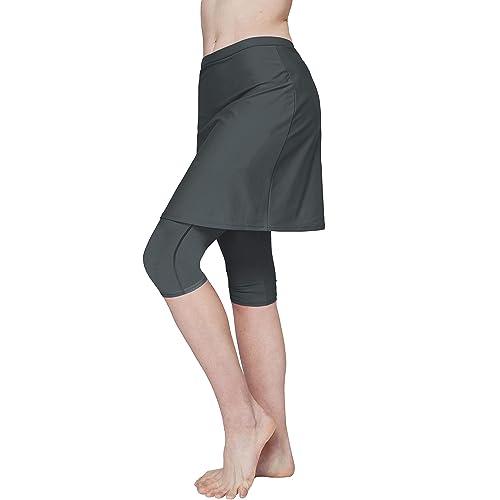 Westkun Women Plus Size Swim Skirted Legging High Waist Skorts Bottoms Solid Color Surfing Beach Athletic Running Capri Skirts