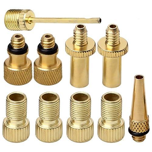 Bicycle Presta Valve Adapter,Inflation Adapter Set Air Pump Compressor Adapter Presta to Schrader Adapter DV SV AV Balls Ball Pump Needle(sealing ring)