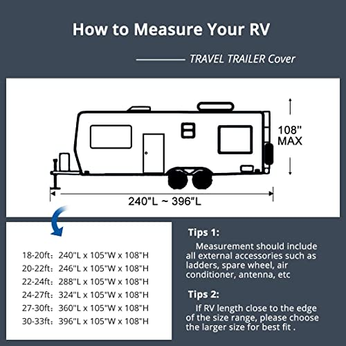 OOFIT Travel Trailer RV Cover Fits for 30/' 33/'for RVs Adhesive Repair Patch Ply Non-Woven Fabric Roof Breathable Waterproof Anti-UV Ripstop Weather Resistant 4