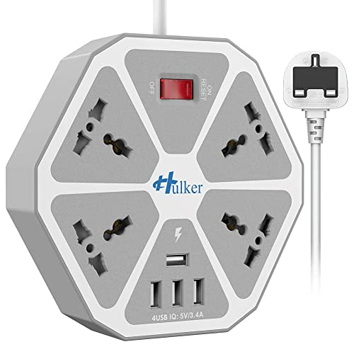 Power Strips with USB ports 3 Way Outlets 6 USB Ports Surge Protection Power Strip Universal Power Socket with 2 Meter Bold Extension cord With Fuse and Shutter Extension Lead UK Black