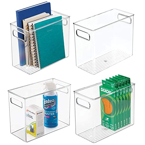 6 Cube Highlighters Notebooks Drawers Workspace for Cabinets Holds Pens Smoke Gray Desks 4 Pack mDesign Plastic Home Office Storage Organizer Container with Handles Pencils