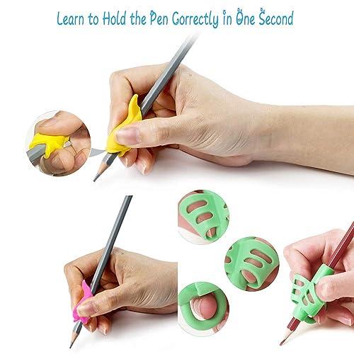Preschoolers Lefties or Righties Adults 8 Packs Pencil Grips for Kids Handwriting 4 Types Ergonomic Writing Posture Correction Tool for Children M JJYPET Pencil Grips Kids