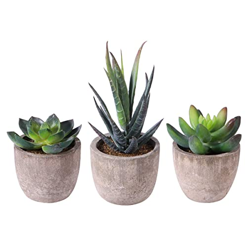 YHmall Artificial Plants 4 PCS Fake Succulent Plants Potted Series
