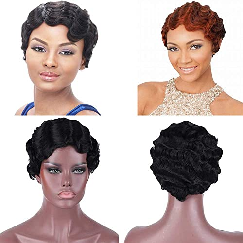 Human Hair 1920 Finger Waves Wigs For Black Women Short Bob Water Wave Curly Wavy Pixie Cut Wigs Mommy Daily Party Wig 99j Buy Products Online With Ubuy Kuwait In Affordable