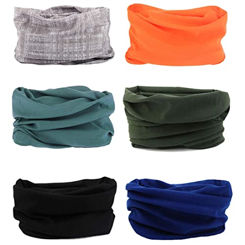 6 PCS Seamless Multifunctional Headwear Bandana Scarf Tube Elastic Headband UV