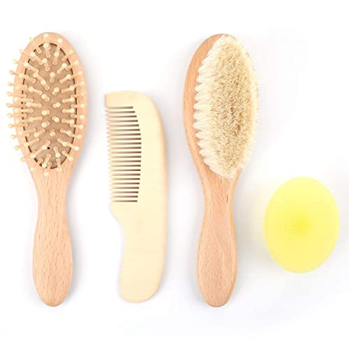 Infant Care Hair Brush /& Comb Set for Baby Hair Care kuou 2 pcs Baby Hair Brush /& Comb Set