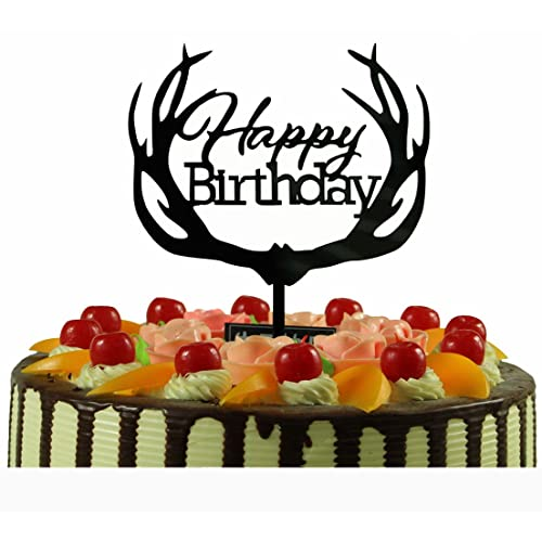 Outstanding Happy Birthday Cake Topper Monogram Black Mirror Acrylic Antler Funny Birthday Cards Online Benoljebrpdamsfinfo