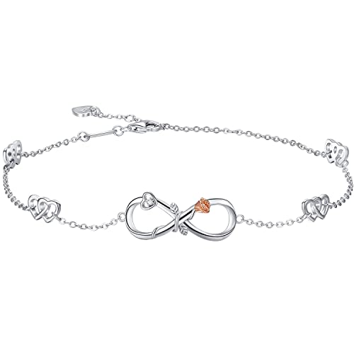 Gift//Present Silver Anklet Bracelet Cross Chain Infinity Body Jewelry For Her