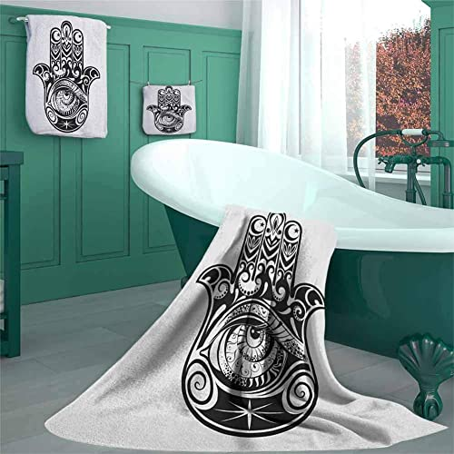 Buy Hamsa Casaliving 3 Piece Towel Set N Art In Black And White Icon Design Pattern Bathroom Set 100 Organic Cotton For Men And Women Everyday Use 3 Piece Set S Black