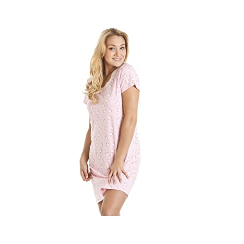Camille Womens Ladies Nightwear Sleepwear Light Pink Owl Motif Cotton Nightdress
