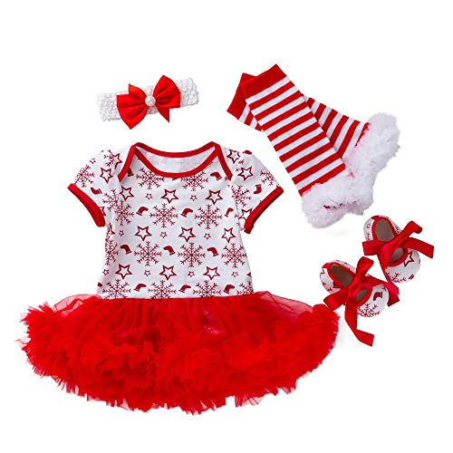 AMMENGBEI Newborn Infant Baby Girls Christmas Outfit Short Sleeve Romper Tutu Dress 4PCS Christmas Clothes