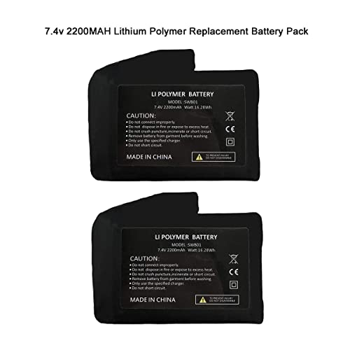 Rechargeable 7.4V 2200MAH//3000MAH Li-ion Batteries,US Standard Dual Charger,USB Charging Cable,Batteries for Heated Gloves Socks Hats Balaclava Ski Mask Thermal Underwears Bottoms 2pcs Included
