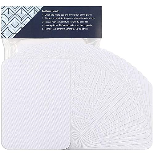 Pants Jackets Jeans Outuxed 24pcs Fabric Iron on Patches White 4.9 Inches x 3.7 Inches Repair Kit Large Size for Clothes