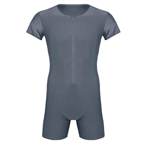 ACSUSS Mens Lycra Spandex Zipper Front Bodysuit Workout Dance Biketard Unitard