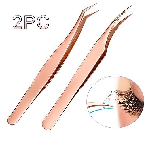 Buy LanMa Eyelash Extensions Tweezers Curved Tip Tweezers Stainless