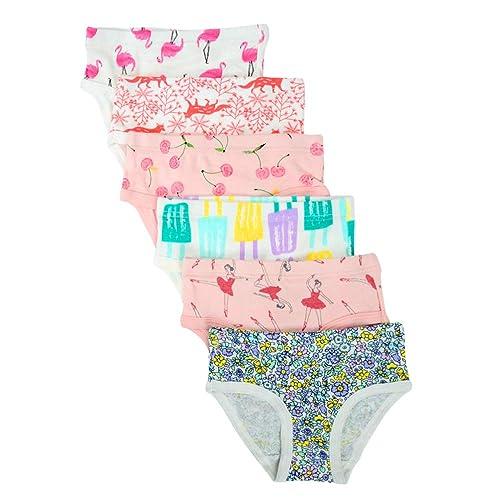 Pack of 6 Kidear Toddller Girls Underwear Baby Soft Cotton Panties Little Kids Assorted Briefs