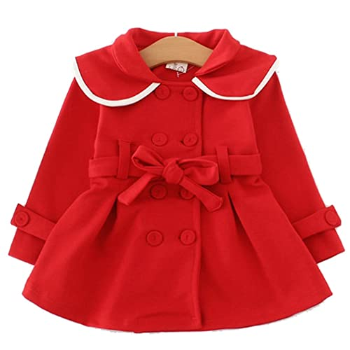 Zerototens Baby Girls Coat,1-6 Years Old Toddler Kids Outwear Infant Girls Autumn Winter Long Sleeve Bowknot Cloak Jacket Overcoat Children Thick Warm Trench