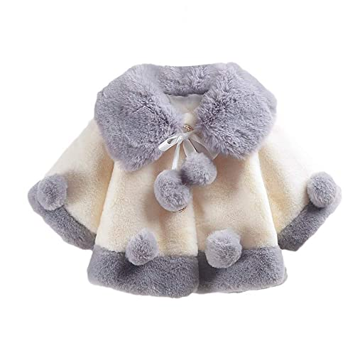 Houystory Baby Girls Autumn Winter Thick Warm Coat Faux Fur Cape Cloak Coat Jacket Cardigan Outwear Newborn Clothes Tops