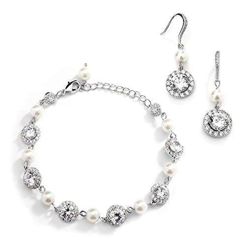 80f62640c Buy Mariell Ivory Pearl & Round CZ Bridal Bracelet & Earrings Set - Wedding  Jewelry Sets for Bridesmaids with Ubuy Kuwait. B07BB6HNTR