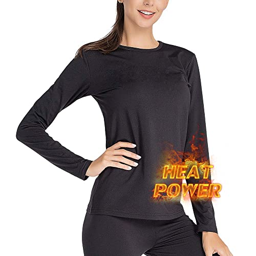 MANCYFIT Womens Thermal Top Double Fleece Lined Shirts Seamless Base Layer