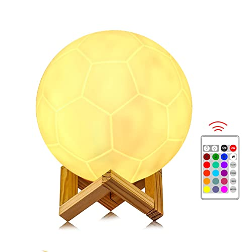 Soccer Lamp 16 Colors Rgb Warm Led Night Light Lamps For Kids Lover Birthday Christmas Gifts Usb Rechargeable Touch Control Dimmable Football Lamp With Stand Creative Home Decoration 6 3 16cm
