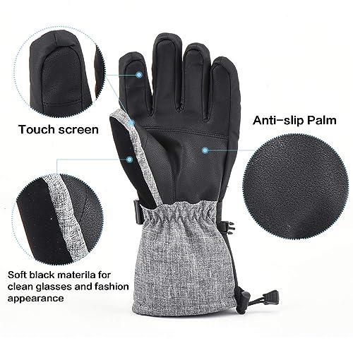 EXski Waterproof Mens Extreme Cold Weather Ski Gloves Winter Warm 3M Thinsulate Snowmobile Snowboard Gloves Windproof Goatskin Leather Palm Zipper Pocket