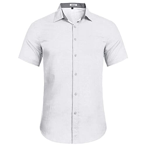Aibrou Mens Shirts Regular Fit Short Sleeve Shirt Solid Linen Cotton Shirt Casual Button Down Shirt for Summer