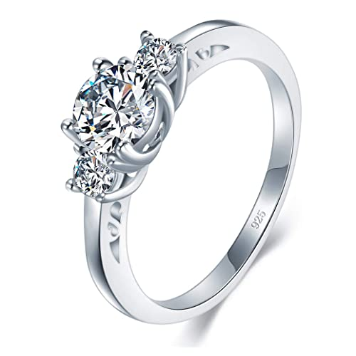 CloseoutWarehouse Round Prong Set Cubic Zirconia Petite Solitaire Ring Sterling Silver