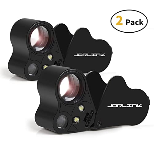Watches etc SAKOLLA 30X 60X Illuminated Jewelry Loupe Magnifier 2 Pack Foldable Jewelers Eye Loupe Magnifier with Bright LED Lighting for Jewelry Gems Coins