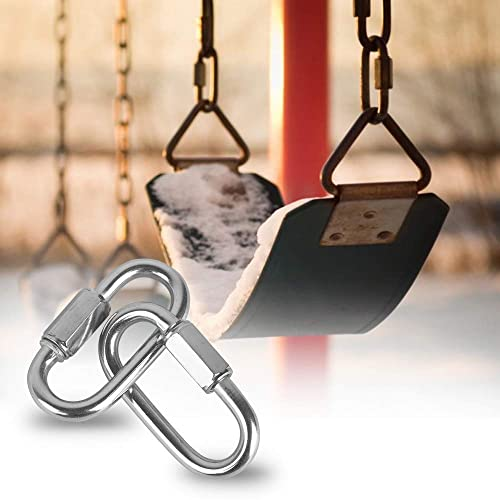 4 Pack Quick Link M10 10mm Stainless Steel Chain Connector by KINJOEK Hammock Heavy Duty D Shape Locking Looks for Carabiner Camping and Outdoor Equipment Max. Load 2297 Lb
