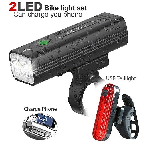 EBUYFIRE USB Rechargeable Bike Light Set 2000 Lumen Super Bright LED Bicycle