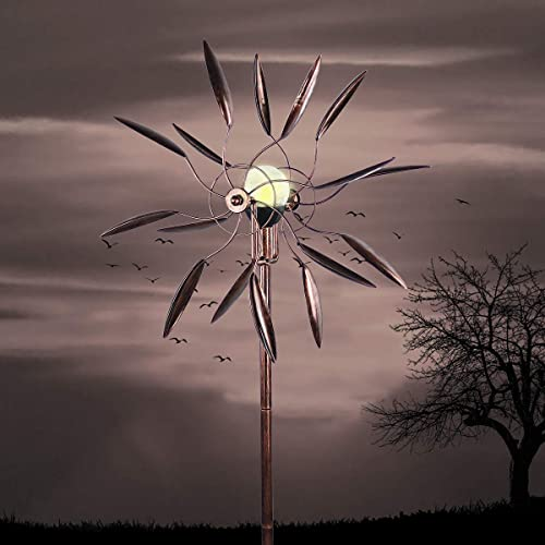 Buy Hourflik Solar Wind Spinner 3d Kinetic Wind Spinners Outdoor Metal Gardening Decorations With Multi Color Led Lighting By Solar Powered Glass Ball With Lawn Ornament Wind Mills Online In Kuwait B07y58k8wg