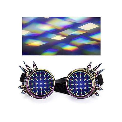 Lelinta Diffraction Steampunk Goggles Rave Glasses Prism Rainbow Eyewear