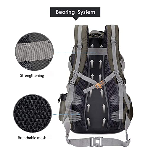 TXJ Sports Hiking Backpack 40L with rain Cover Travel Camping Waterproof Backpack for Women Men