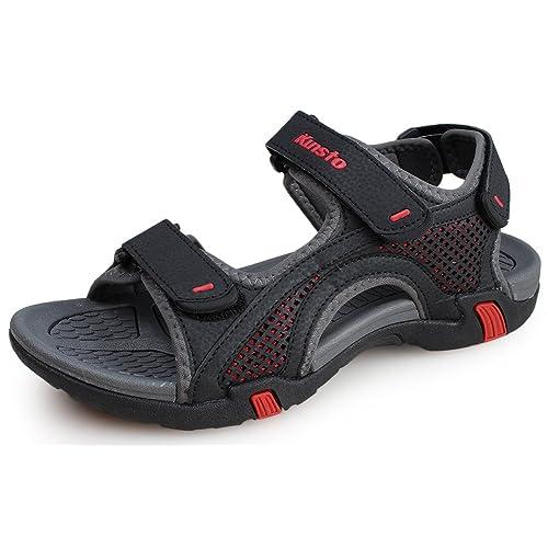 48ac0a0c93f25 Buy Kunsto Men's Synthetic Leather Open-Toe Sandal with Ubuy Kuwait ...
