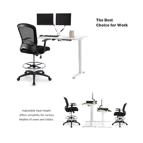 Super Black Sunon Mid Back Black Mesh Drafting Chair Movable And Inzonedesignstudio Interior Chair Design Inzonedesignstudiocom