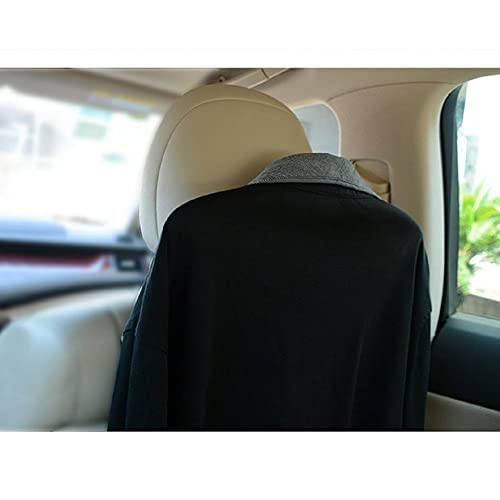 E-Bro Car Seat Headrest Coat Hanger Holder with Safety Handle Passenger Grip and Hanging Hook Plastic Black