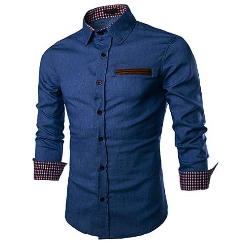 JINIDU Men Fashion Long Sleeve Plaid Cotton Button Down Casual Shirts Red