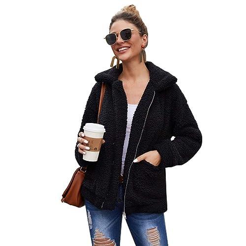 YYW Womens Sherpa Fleece Vest Fuzzy Warm Sleeveless Zip Casual Coat with Pockets
