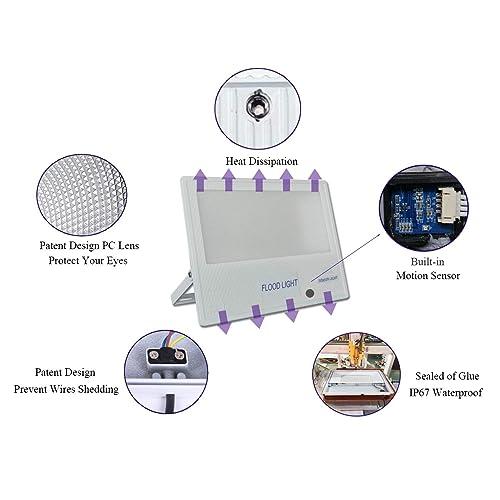 LED Security Lights with Motion Sensor Plug Junction Box 2-Pack 10W 1000lm Super Bright PIR Floodlight IP66 Waterproof Outdoor Lighting for Garden Courtyard Garage Playground External Wall Park PEBA