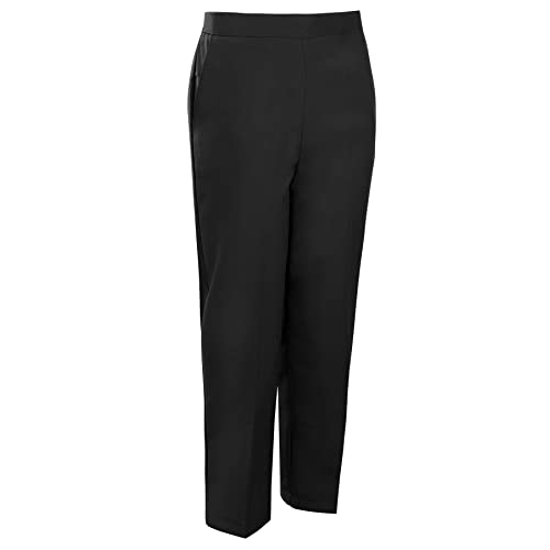 Inspire Me Ladies Womens Half Elasticated Waist Work Trousers Machine Washable Ladies Casual Trousers Stretch Trousers with Pockets Pants