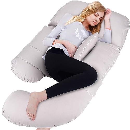 Velour BATTOP Full Body Pregnancy Pillow G-Shaped Maternity Pillow Removable Velvet Cover for Sleeping with Nursing Baby Design Support for Back Belly Hips Legs