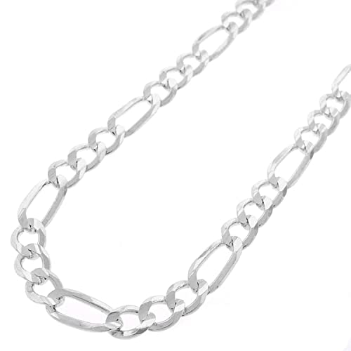 10.5MM Made In Italy 16-30 In Style Designz .925 Solid Sterling Silver Figaro Link ITProLux Necklace Chains 2MM Men /& Women