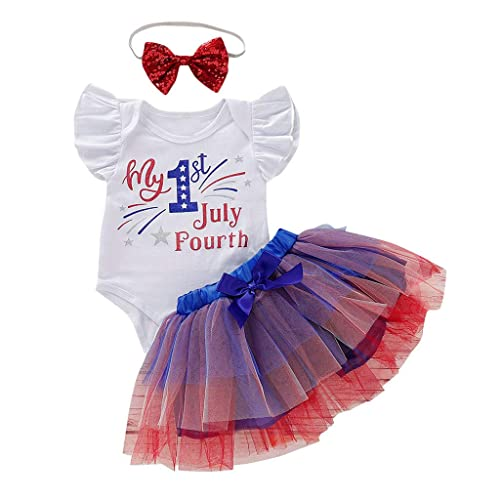 Toddler Baby Girl 4th of July Romper Bodysuit Headband Outfit Patriotic Clothes