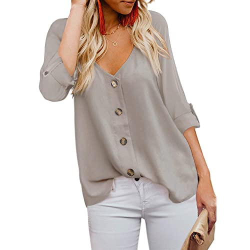Elapsy Womens Striped Button Up Short Sleeve T Shirt Tunics Casual Blouse Tops
